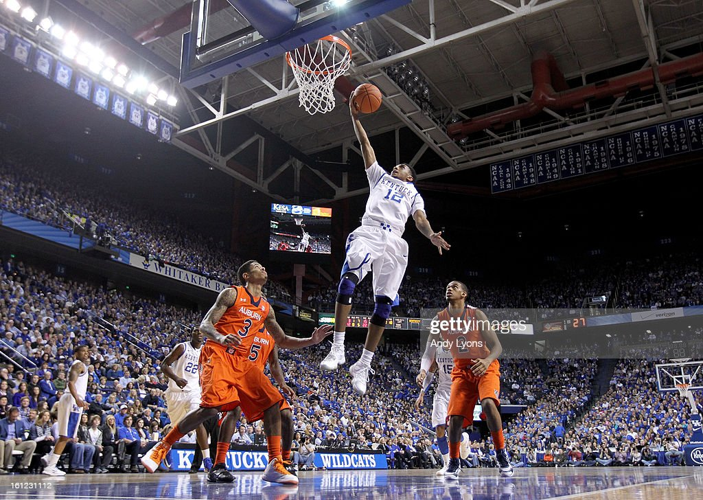 Ryan Harrow #12 of the Kentucky Wildcats shoots the ball during the game against the Auburn Tigers at Rupp Arena on February 9, 2013 in Lexington, Kentucky.