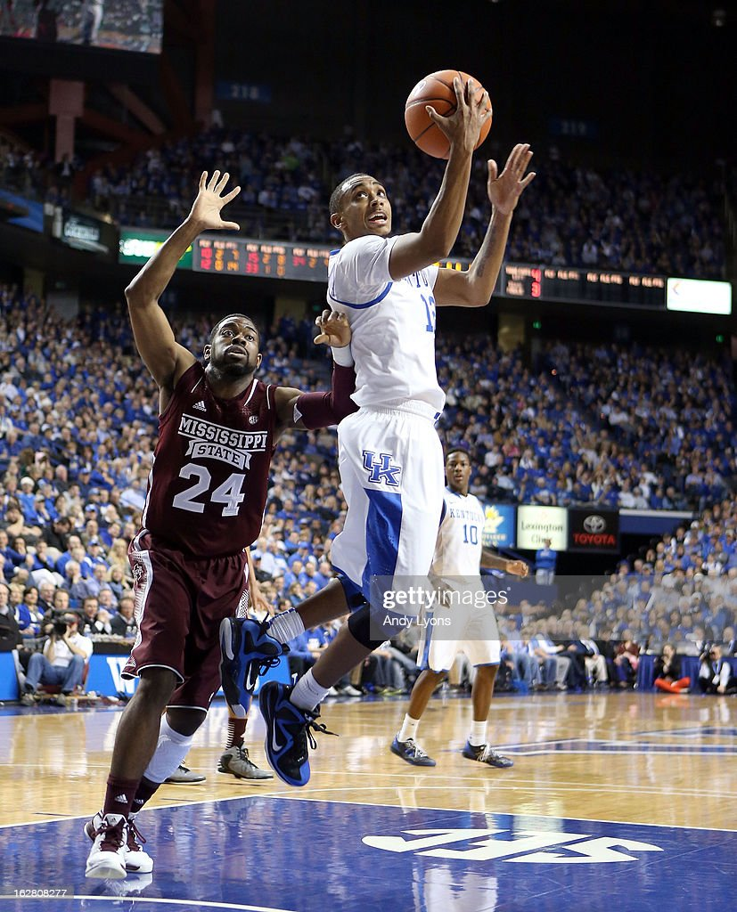 Ryan Harrow #12 of the Kentucky Wildcats shoots the ball during the game against the Mississippi State Bulldogs at Rupp Arena on February 27, 2013 in Lexington, Kentucky.