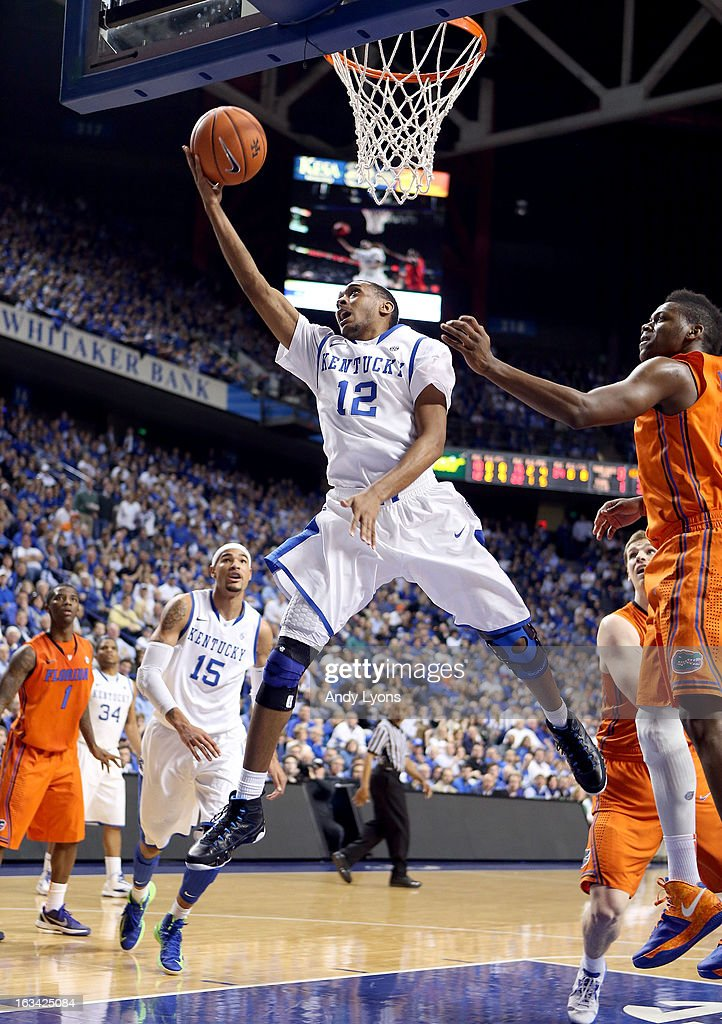 Ryan Harrow #12 of the Kentucky Wildcats shoots the ball during the game against the Florida Gators at Rupp Arena on March 9, 2013 in Lexington, Kentucky.