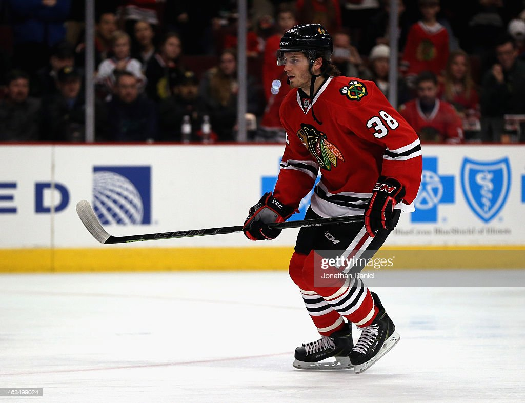 <a gi-track='captionPersonalityLinkClicked' href=/galleries/search?phrase=Ryan+Hartman&family=editorial&specificpeople=9156569 ng-click='$event.stopPropagation()'>Ryan Hartman</a> #38 of the Chicago Blackhawks skates during warm-ups before a game against the Pittsburgh Penguins at the United Center on February 15, 2015 in Chicago, Illinois.