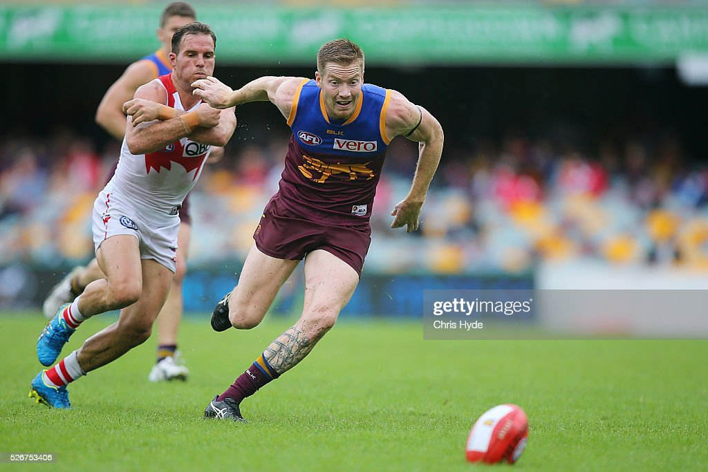 Ryan Harwood of the Lions runs for the ball during the round six AFL match between the Brisbane Lions and the Sydney Swans at The Gabba on May 1, 2016 in Brisbane, Australia.