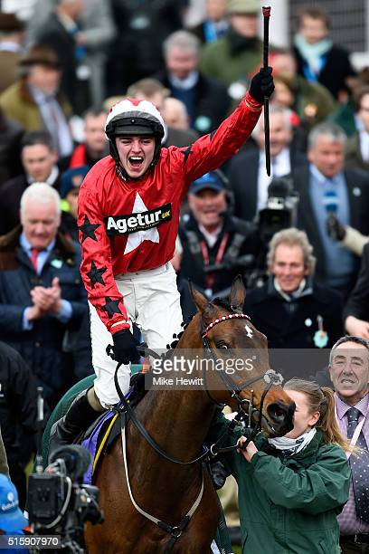 Ryan Hatch celebrates on board Blaklion after winning the RSA Chase during Ladies Day of the Cheltenham Festival at Cheltenham Racecourse on March 16...