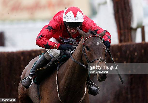 Ryan Hatch riding Blaklion clear the last to win The Harrison James Hardie Novices' Steeple Chase at Cheltenham racecourse on December 11 2015 in...