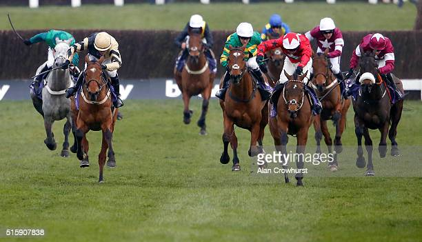 Ryan Hatch riding Blaklion clear the last to win The RSA Steeple Chase at Cheltenham racecourse on March 16 2016 in Cheltenham England