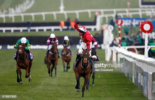 Ryan Hatch riding Blaklion win The RSA Steeple Chase at Cheltenham racecourse on March 16 2016 in Cheltenham England