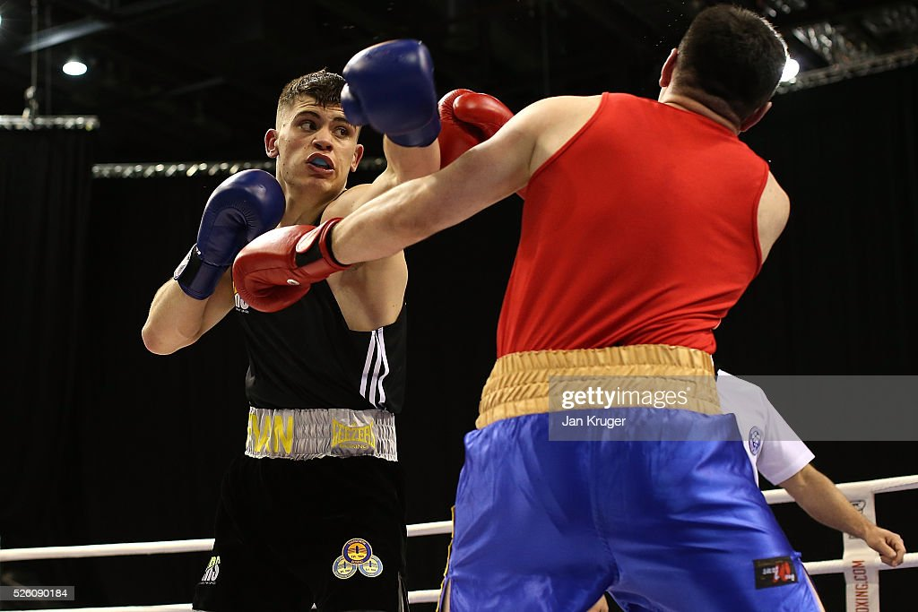 Ryan Hatton (blue) in action against Anees Taj in their 91kg quarter final fight during day one of the Boxing Elite National Championships at Echo Arena on April 29, 2016 in Liverpool, England.