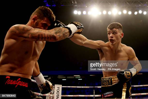 Ryan Hatton in action with Jack Davies at the Copper Box Arena London PRESS ASSOCIATION Photo Picture date Saturday September 16 2017 See PA story...