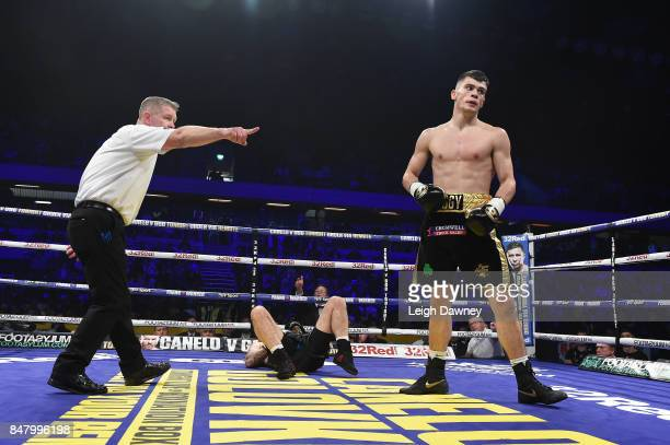 Ryan Hatton making his professional boxing debut knocks down Jack Davies during a Light Heavyweight contest at Copper Box Arena on September 16 2017...