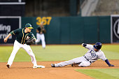 Ryan Healy of the Oakland Athletics tags out Brandon Guyer of the Tampa Bay Rays in the top of the sixth inning at the OaklandAlameda Coliseum on...