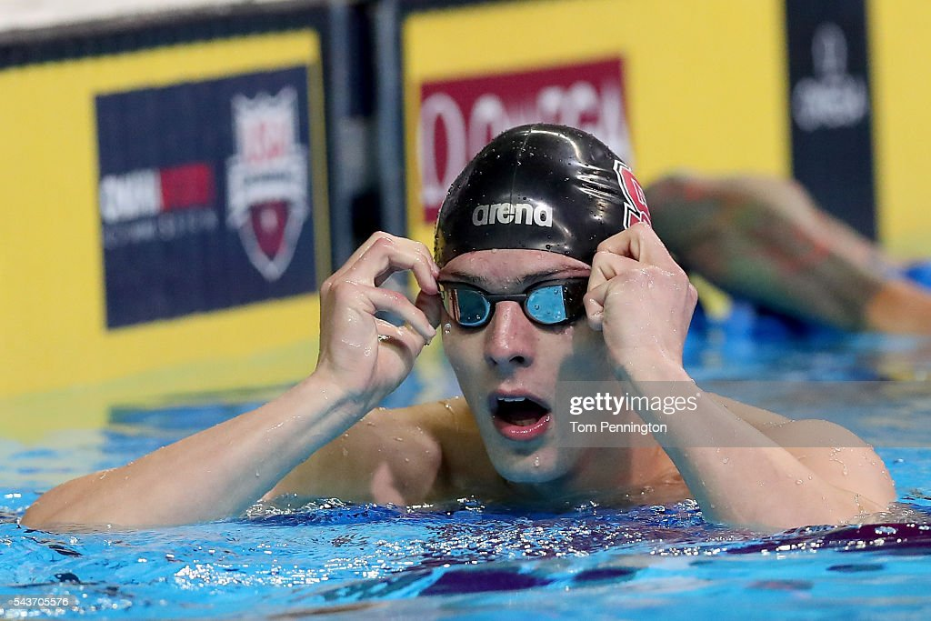Ryan Held of the United States celebrates after competing in a semifinal heat for the Men's 100 Meter Freestyle during Day Four of the 2016 U.S. Olympic Team Swimming Trials at CenturyLink Center on June 29, 2016 in Omaha, Nebraska.