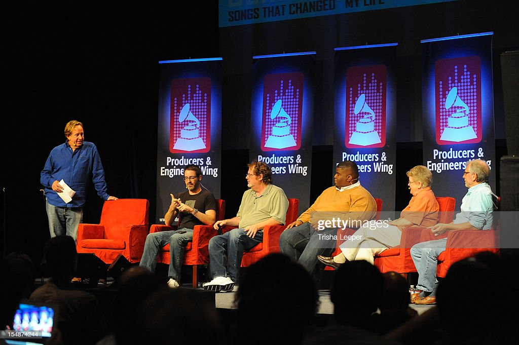 Ryan Hewitt, Ryan Hewitt, Dave Pensado, Salaam Remi, Leslie Ann Jones and Elliot Scheiner attends the GRAMMY SoundTables: Sonic Imprints-Songs That Changed My Life at The Moscone Center on October 27, 2012 in San Francisco, California.