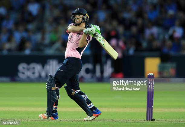 Ryan Higgins of Middlesex bats during the NatWest T20 Blast match between Middlesex and Surrey at Lord's Cricket Ground on July 13 2017 in London...