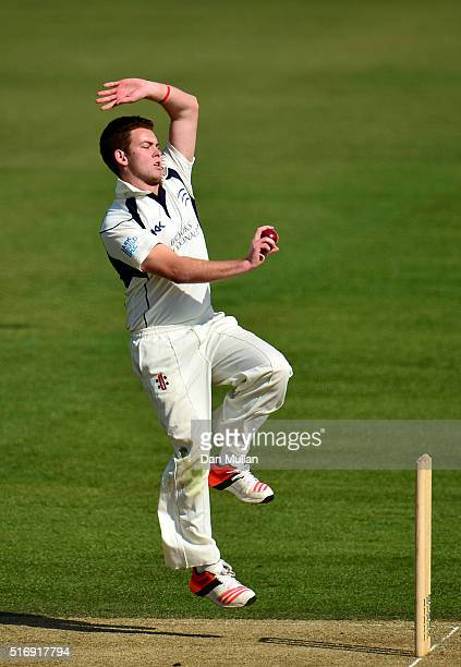 Ryan Higgins of Middlesex bowls during day one of the preseason friendly between Surrey and Middlesex at The Kia Oval on March 22 2016 in London...