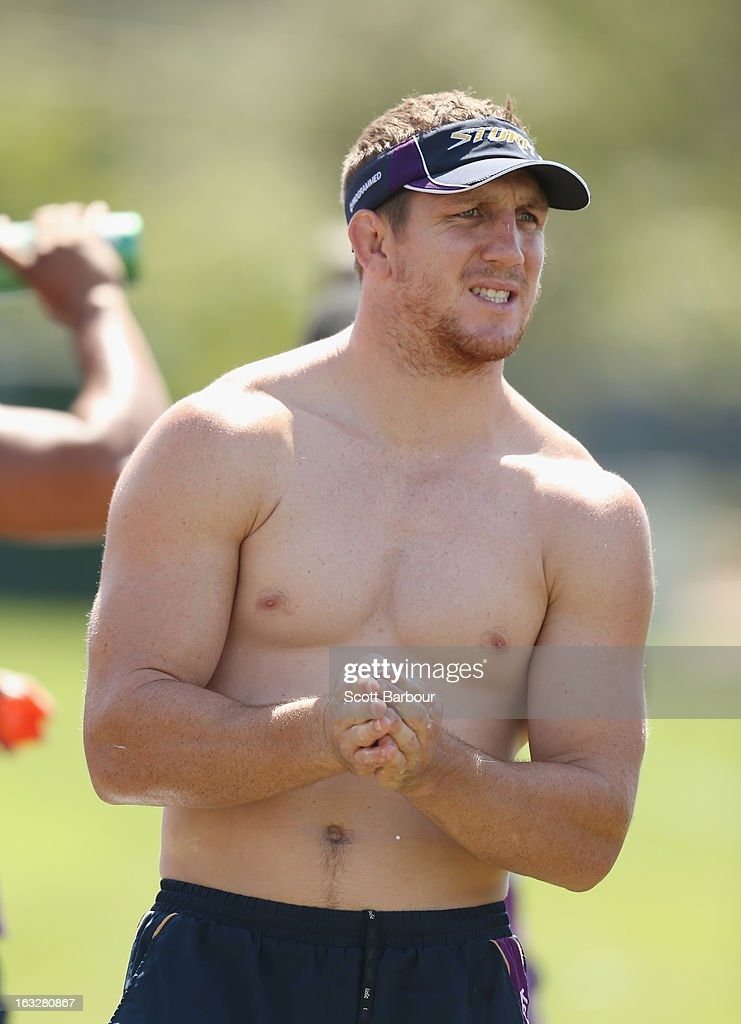<a gi-track='captionPersonalityLinkClicked' href=/galleries/search?phrase=Ryan+Hoffman&family=editorial&specificpeople=204420 ng-click='$event.stopPropagation()'>Ryan Hoffman</a> of the Storm looks on during a Melbourne Storm NRL training session at Gosch's Paddock on March 7, 2013 in Melbourne, Australia.