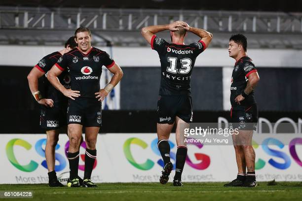 Ryan Hoffman of the Warriors and the team react after a Storms try during the round two NRL match between the New Zealand Warriors and the Melbourne...