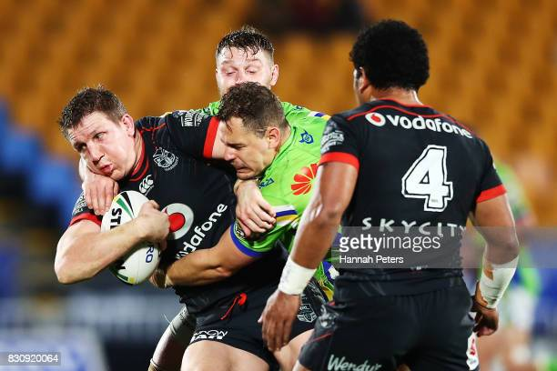 Ryan Hoffman of the Warriors charges forward during the round 23 NRL match between the New Zealand Warriors and the Canberra Raiders at Mt Smart...