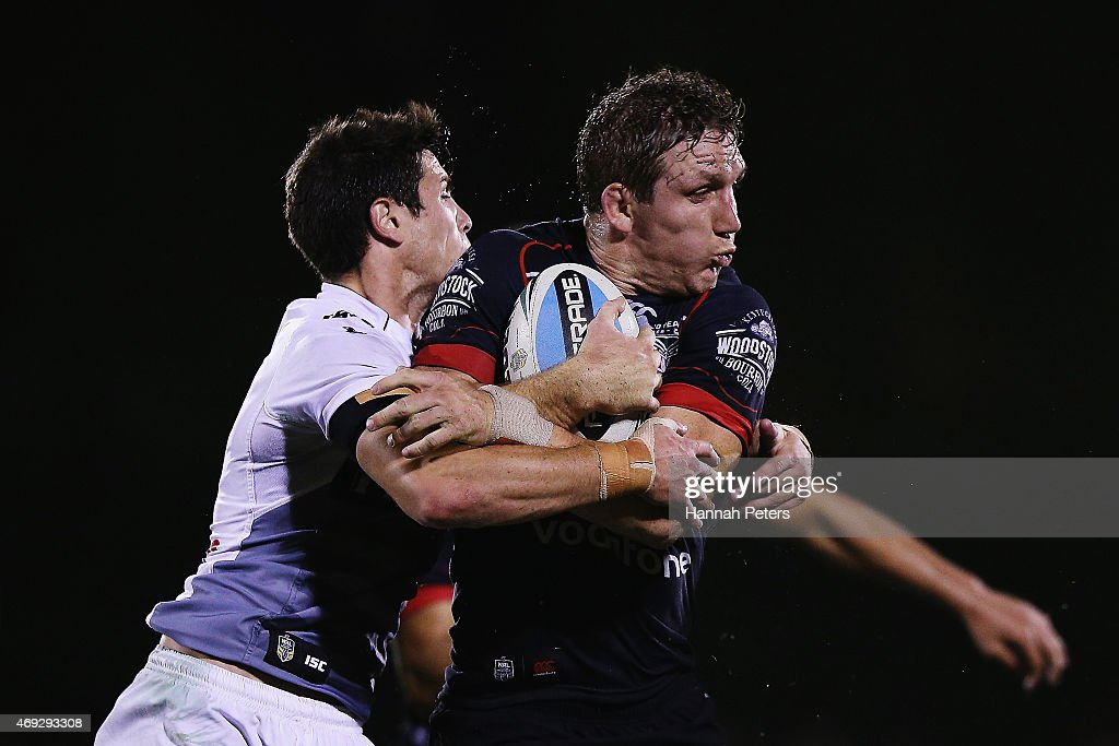 Ryan Hoffman of the Warriors charges forward during the round six NRL match between the New Zealand Warriors and the Wests Tigers at Mt Smart Stadium on April 11, 2015 in Auckland, New Zealand.