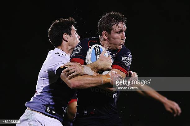 Ryan Hoffman of the Warriors charges forward during the round six NRL match between the New Zealand Warriors and the Wests Tigers at Mt Smart Stadium...