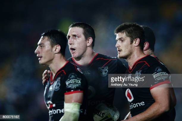Ryan Hoffman of the Warriors cheers on the team during the round 16 NRL match between the New Zealand Warriors and the Canterbury Bulldogs at Mt...