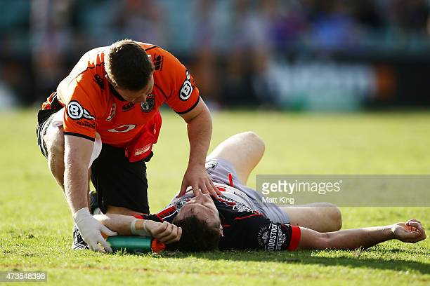Ryan Hoffman of the Warriors lays down with a concussion injury during the round 10 NRL match between the Parramatta Eels and the New Zealand...