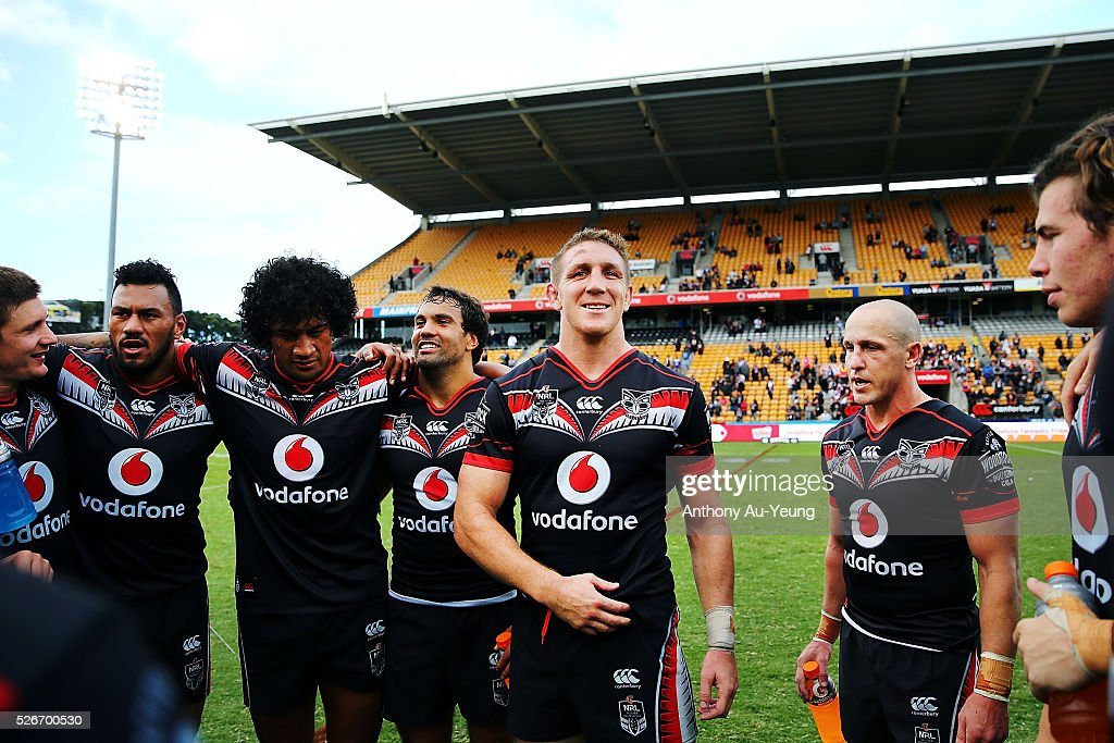 Ryan Hoffman of the Warriors puts on a smile after winning the round nine NRL match between the New Zealand Warriors and the St George Illawarra Dragons at Mt Smart Stadium on May 1, 2016 in Auckland, New Zealand.
