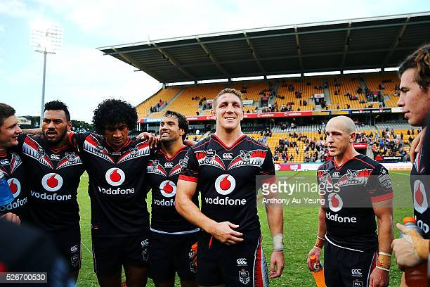 Ryan Hoffman of the Warriors puts on a smile after winning the round nine NRL match between the New Zealand Warriors and the St George Illawarra...