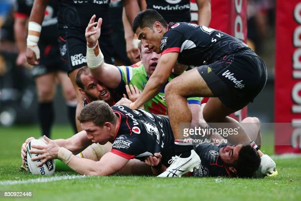 Ryan Hoffman of the Warriors secures the ball after a Raiders turnover during the round 23 NRL match between the New Zealand Warriors and the...