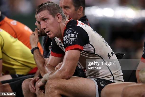 Ryan Hoffman of the Warriors watches on from the bench during the round four NRL match between the St George Illawarra Dragons and the New Zealand...