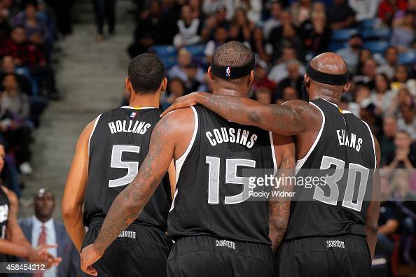 Ryan Hollins DeMarcus Cousins and Reggie Evans of the Sacramento Kings in a game against the Portland Trail Blazers on October 31 2014 at Sleep Train...