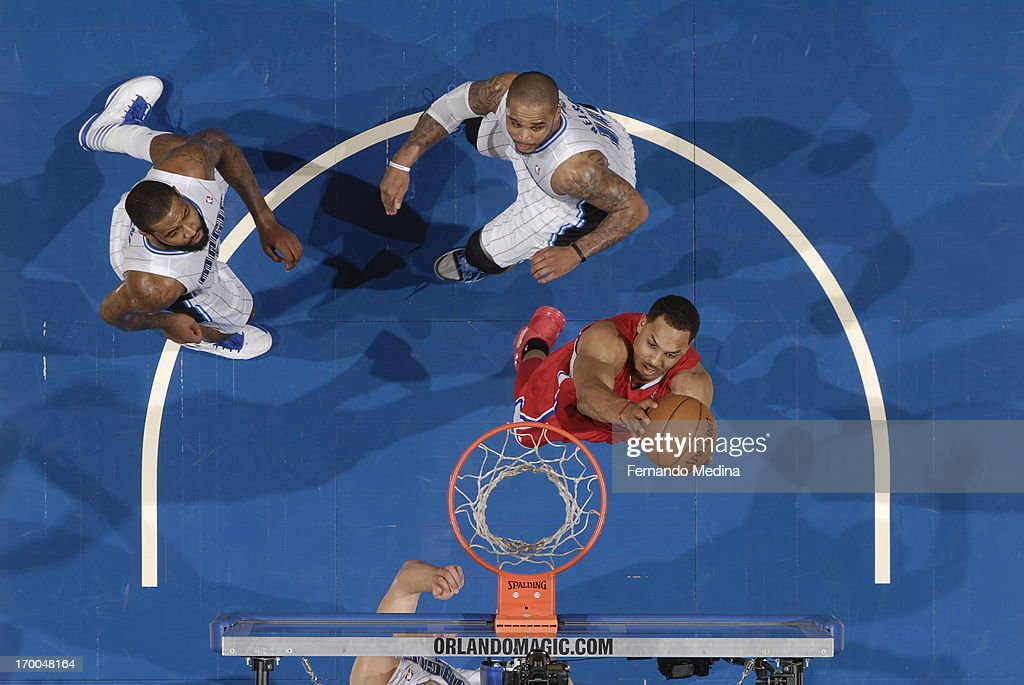 <a gi-track='captionPersonalityLinkClicked' href=/galleries/search?phrase=Ryan+Hollins&family=editorial&specificpeople=182556 ng-click='$event.stopPropagation()'>Ryan Hollins</a> #15 of the Los Angeles Clippers drives to the basket against the Orlando Magic on February 6, 2013 at Amway Center in Orlando, Florida.