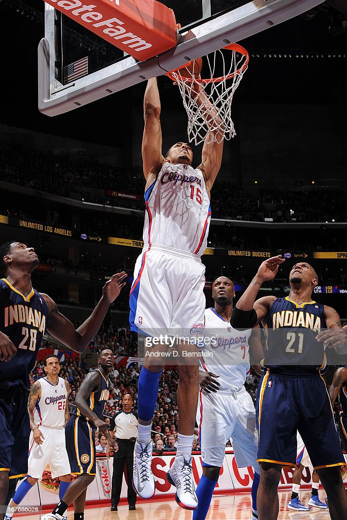 <a gi-track='captionPersonalityLinkClicked' href=/galleries/search?phrase=Ryan+Hollins&family=editorial&specificpeople=182556 ng-click='$event.stopPropagation()'>Ryan Hollins</a> #15 of the Los Angeles Clippers dunks against the Indiana Pacers at Staples Center on April 1, 2013 in Los Angeles, California.