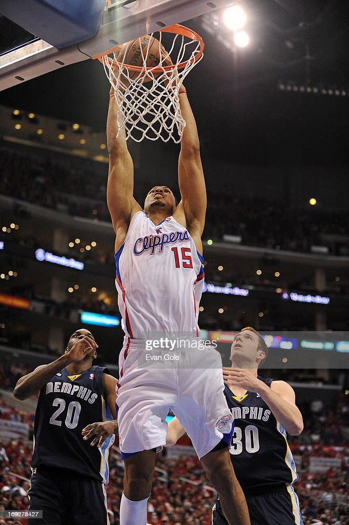 <a gi-track='captionPersonalityLinkClicked' href=/galleries/search?phrase=Ryan+Hollins&family=editorial&specificpeople=182556 ng-click='$event.stopPropagation()'>Ryan Hollins</a> #15 of the Los Angeles Clippers dunks the ball against the Memphis Grizzlies at Staples Center in Game One of the Western Conference Quarterfinals during the 2013 NBA Playoffs on April 20, 2013 in Los Angeles, California.