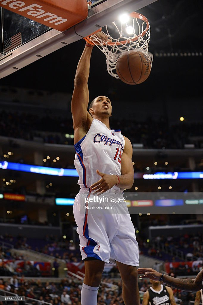 Ryan Hollins #15 of the Los Angeles Clippers dunks the ball during the game between the Los Angeles Clippers and the Sacramento Kings at Staples Center on December 1, 2012 in Los Angeles, California.