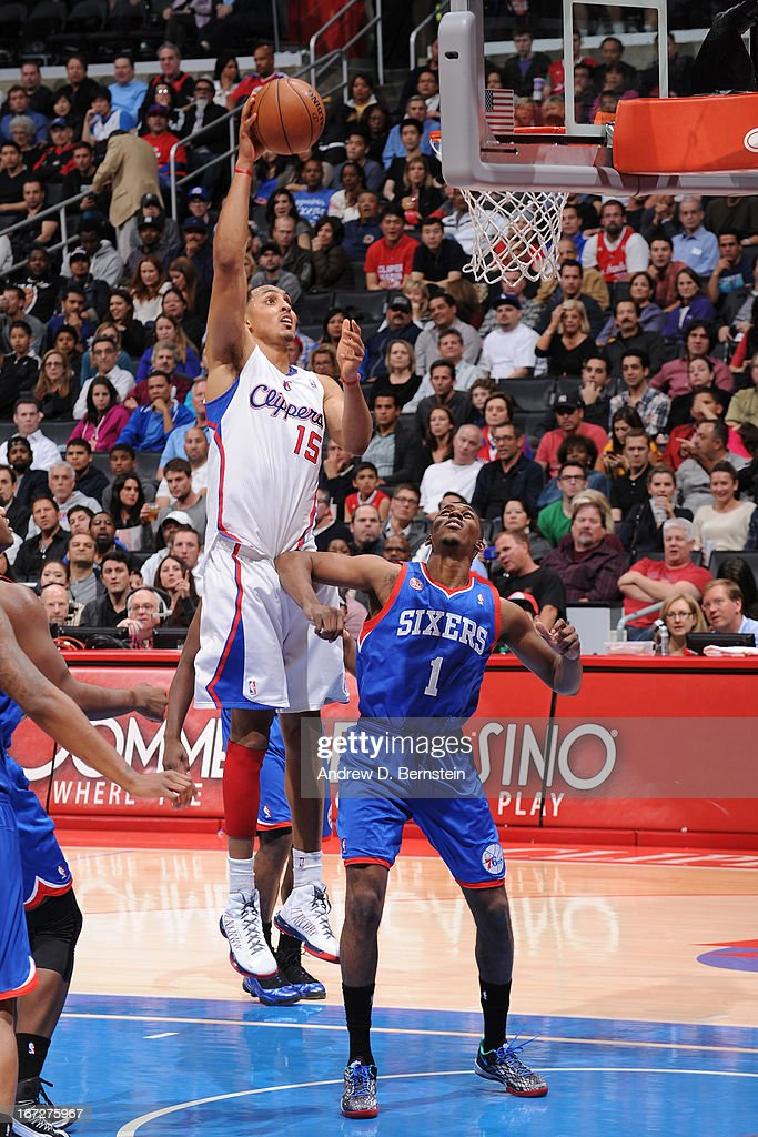 <a gi-track='captionPersonalityLinkClicked' href=/galleries/search?phrase=Ryan+Hollins&family=editorial&specificpeople=182556 ng-click='$event.stopPropagation()'>Ryan Hollins</a> #15 of the Los Angeles Clippers puts up a shot against the Philadelphia 76ers at Staples Center on March 20, 2013 in Los Angeles, California.