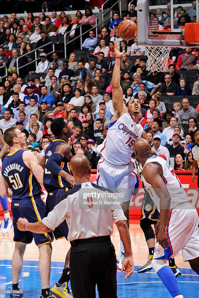 <a gi-track='captionPersonalityLinkClicked' href=/galleries/search?phrase=Ryan+Hollins&family=editorial&specificpeople=182556 ng-click='$event.stopPropagation()'>Ryan Hollins</a> #15 of the Los Angeles Clippers shoots in the lane against the Indiana Pacers at Staples Center on April 1, 2013 in Los Angeles, California.