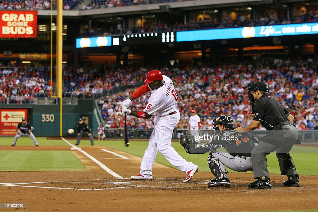 <a gi-track='captionPersonalityLinkClicked' href=/galleries/search?phrase=Ryan+Howard&family=editorial&specificpeople=551402 ng-click='$event.stopPropagation()'>Ryan Howard</a> #6 of the Philadelphia Phillies bats during a game against the Miami Marlins at Citizens Bank Park on September 11, 2012 in Philadelphia, Pennsylvania.
