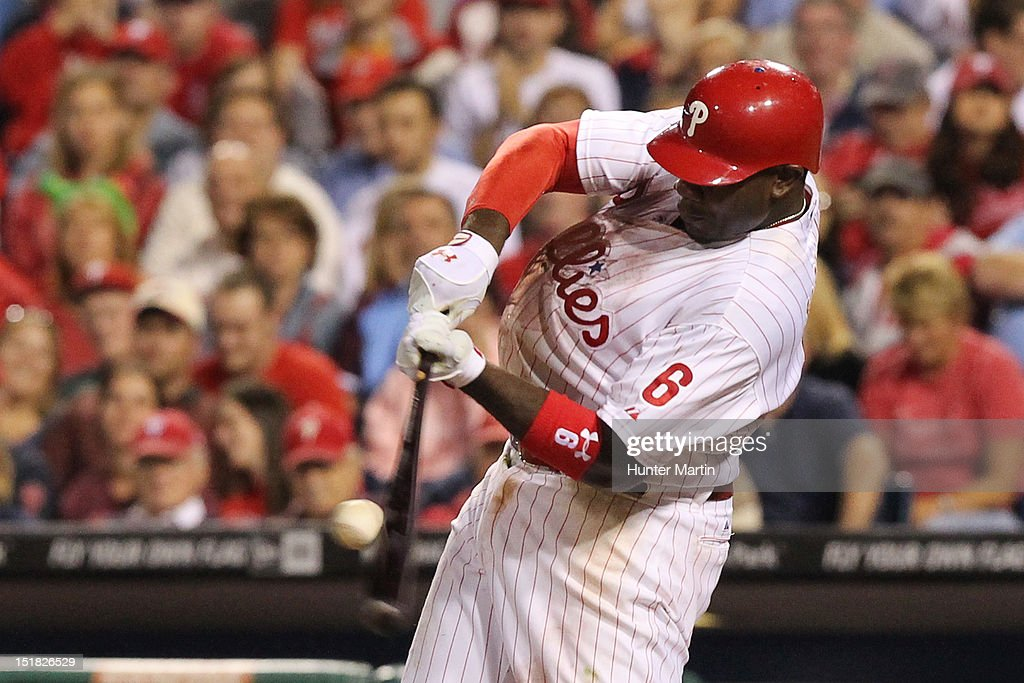 <a gi-track='captionPersonalityLinkClicked' href=/galleries/search?phrase=Ryan+Howard&family=editorial&specificpeople=551402 ng-click='$event.stopPropagation()'>Ryan Howard</a> #6 of the Philadelphia Phillies bats during a game against the Miami Marlins at Citizens Bank Park on September 11, 2012 in Philadelphia, Pennsylvania. The Phillies won 9-7.