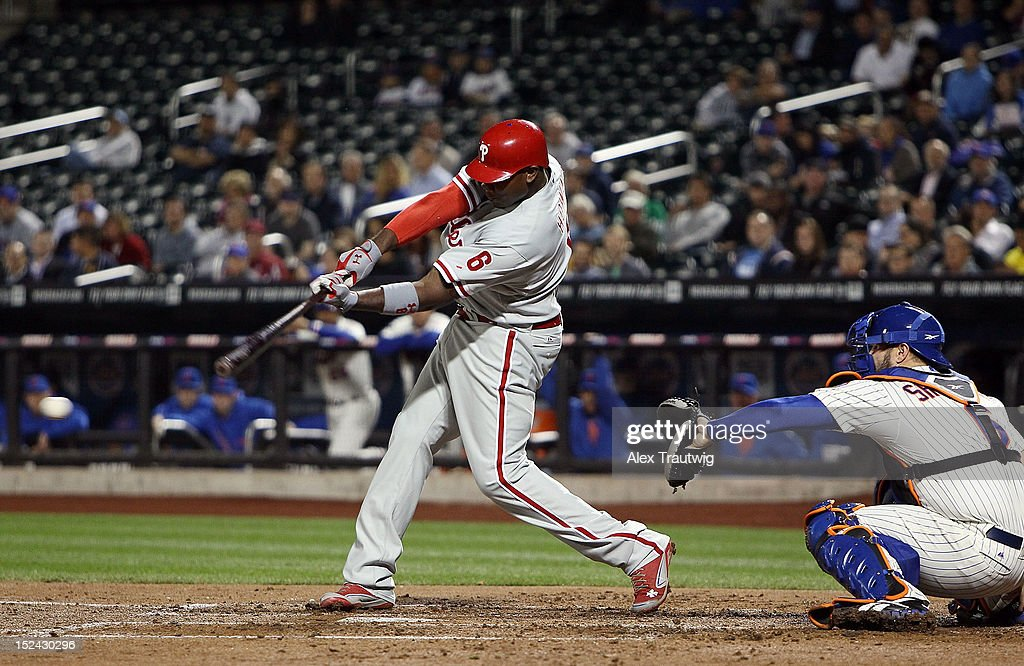 <a gi-track='captionPersonalityLinkClicked' href=/galleries/search?phrase=Ryan+Howard&family=editorial&specificpeople=551402 ng-click='$event.stopPropagation()'>Ryan Howard</a> #6 of the Philadelphia Phillies bats during the first inning against the New York Mets at Citi Field on September 20, 2012 in the Flushing neighborhood of the Queens borough of New York City.