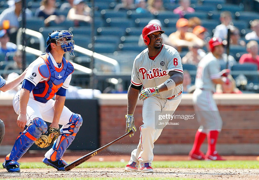 <a gi-track='captionPersonalityLinkClicked' href=/galleries/search?phrase=Ryan+Howard&family=editorial&specificpeople=551402 ng-click='$event.stopPropagation()'>Ryan Howard</a> #6 of the Philadelphia Phillies follows through on a sixth inning home run against the New York Mets at Citi Field on August 31, 2014 in the Flushing neighborhood of the Queens borough of New York City.