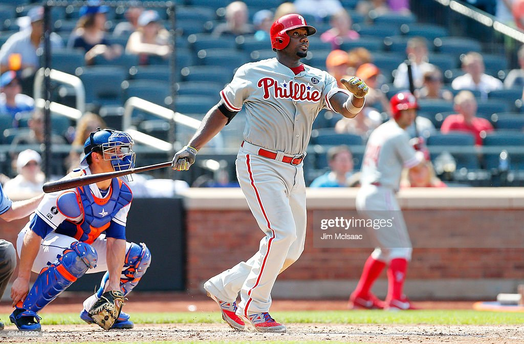 Ryan Howard #6 of the Philadelphia Phillies follows through on his sixth inning home run against the New York Mets at Citi Field on August 31, 2014 in the Flushing neighborhood of the Queens borough of New York City. The Mets defeated the Phillies 6-5.