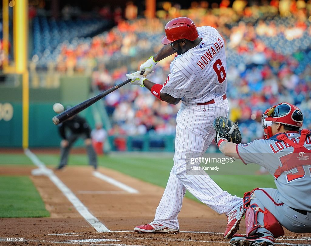 Ryan Howard #6 of the Philadelphia Phillies hits a double against the Washington Nationals in the first inning on May 2, 2014 at Citizens Bank Park in Philadelphia, Pennsylvania. The Nationals won 5-3.