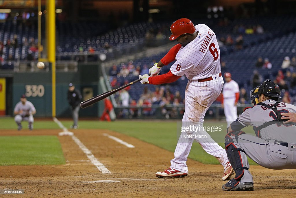 <a gi-track='captionPersonalityLinkClicked' href=/galleries/search?phrase=Ryan+Howard&family=editorial&specificpeople=551402 ng-click='$event.stopPropagation()'>Ryan Howard</a> #6 of the Philadelphia Phillies hits a game-winning solo home run in the 11th inning during a game against the Cleveland Indians at Citizens Bank Park on April 29, 2016 in Philadelphia, Pennsylvania. The Phillies won 4-3 in 11 innings.