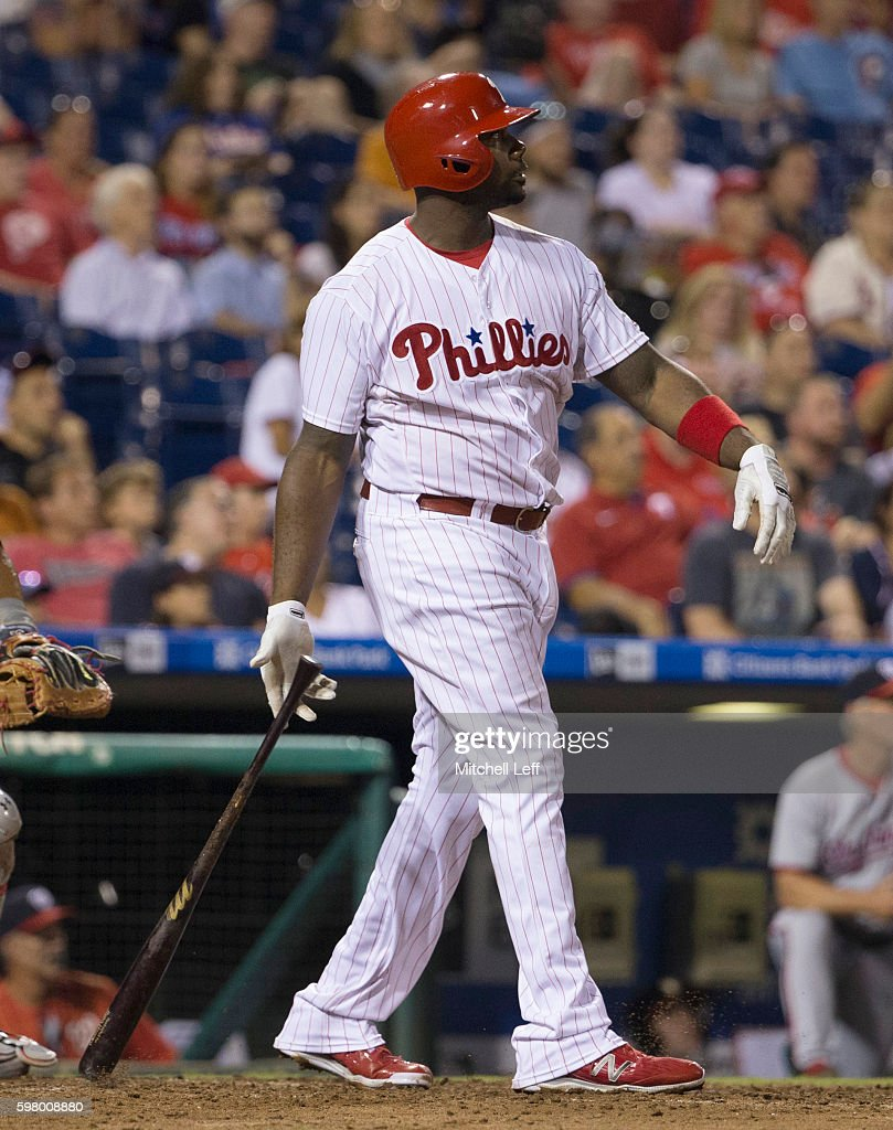 Ryan Howard of the Philadelphia Phillies hits a two run home run in the bottom of the seventh inning against the Washington Nationals at Citizens...