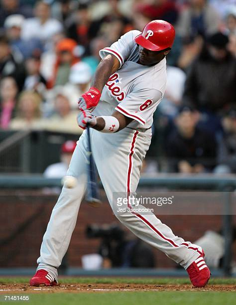 Ryan Howard of the Philadelphia Phillies hits a two run home run in the fourth inning against the San Francisco Giants at ATT Park on July 14 2006 in...