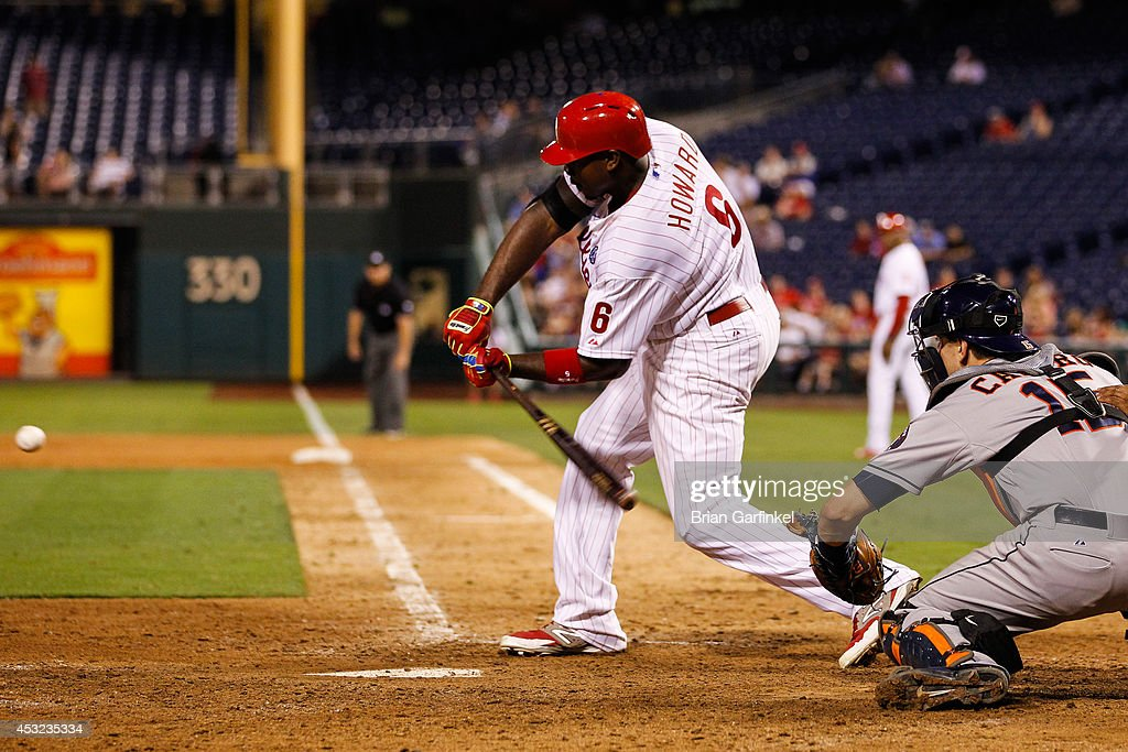 <a gi-track='captionPersonalityLinkClicked' href=/galleries/search?phrase=Ryan+Howard&family=editorial&specificpeople=551402 ng-click='$event.stopPropagation()'>Ryan Howard</a> #6 of the Philadelphia Phillies hits a walk off RBI single in the bottom of the 15th inning of the game against the Houston Astros at Citizens Bank Park on August 5, 2014 in Philadelphia, Pennsylvania. The Phillies won 2-1 in the 15th inning.