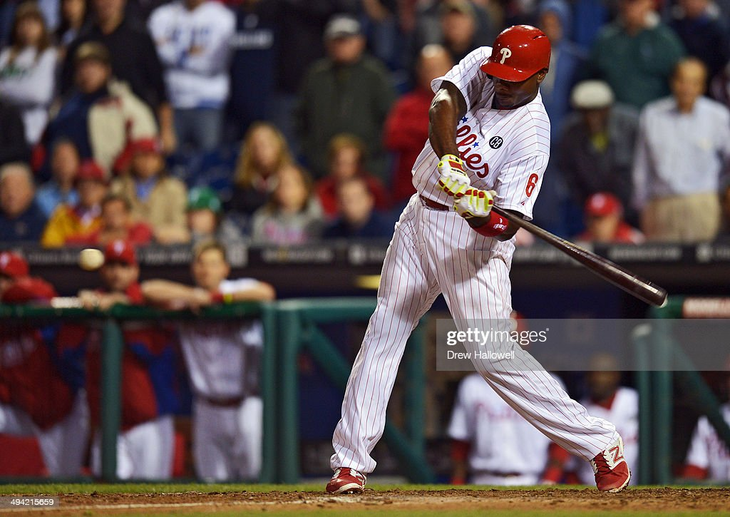 <a gi-track='captionPersonalityLinkClicked' href=/galleries/search?phrase=Ryan+Howard&family=editorial&specificpeople=551402 ng-click='$event.stopPropagation()'>Ryan Howard</a> #6 of the Philadelphia Phillies hits a walk-off three-run home run in the ninth inning against the Colorado Rockies at Citizens Bank Park on May 28, 2014 in Philadelphia, Pennsylvania. The Phillies won 6-3.