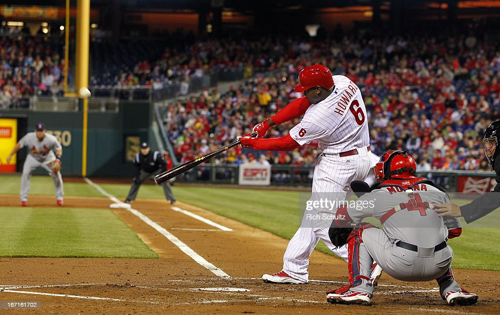 Ryan Howard #6 of the Philadelphia Phillies hits an RBI double against of the St. Louis Cardinals during the first inning in a MLB baseball game on April 21, 2013 at Citizens Bank Park in Philadelphia, Pennsylvania. The Phillies defeated the Cardinals 7-3.