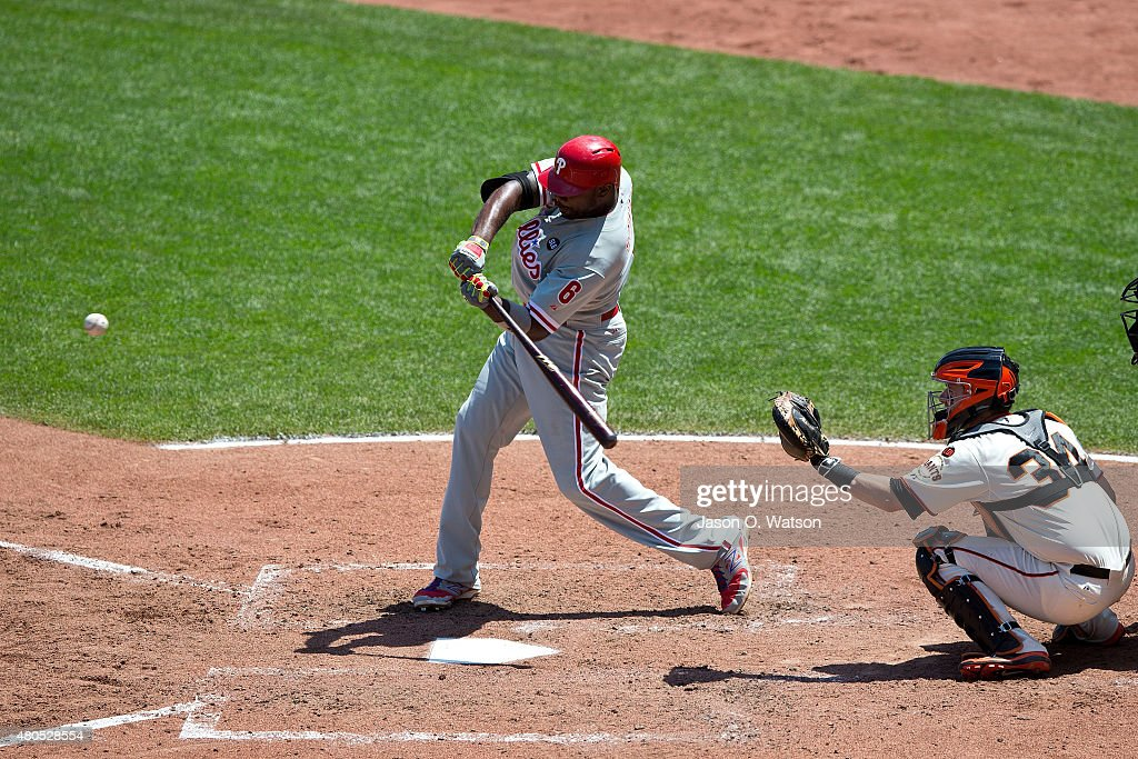 Ryan Howard #6 of the Philadelphia Phillies hits an RBI single against the San Francisco Giants during the seventh inning at AT&T Park on July 12, 2015 in San Francisco, California. The San Francisco Giants defeated the Philadelphia Phillies 4-2.