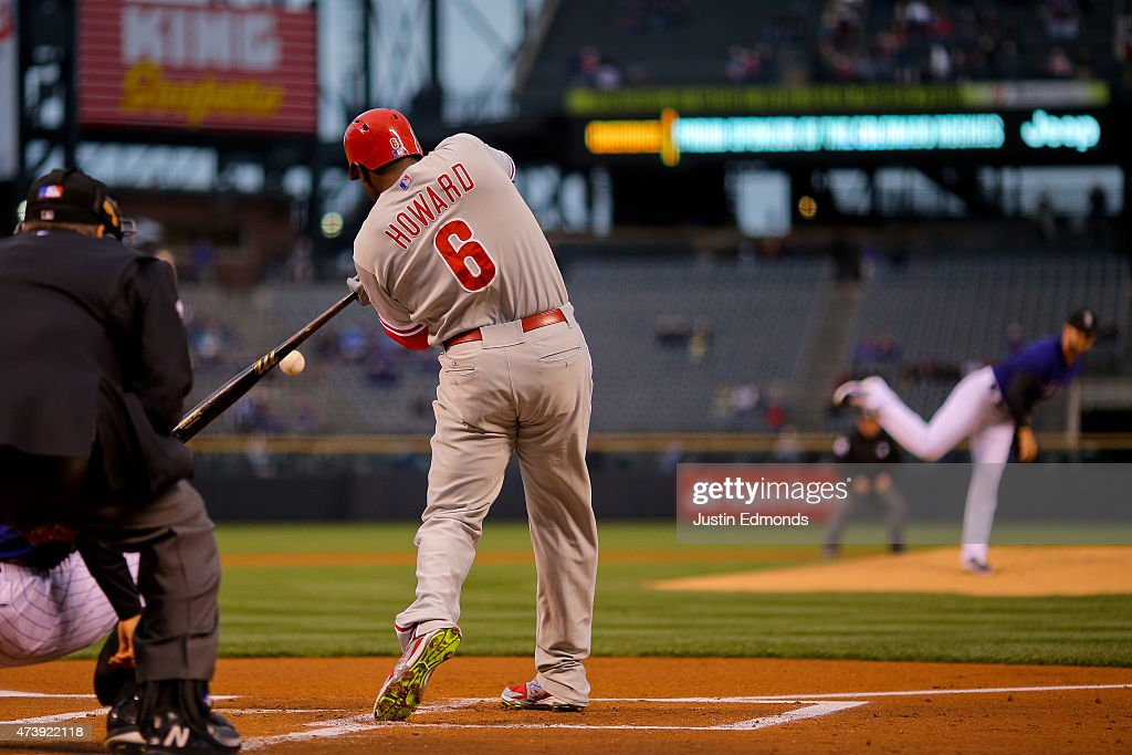 Ryan Howard #6 of the Philadelphia Phillies hits an RBI single off of Jordan Lyles #24 of the Colorado Rockies during the first inning at Coors Field on May 18, 2015 in Denver, Colorado.