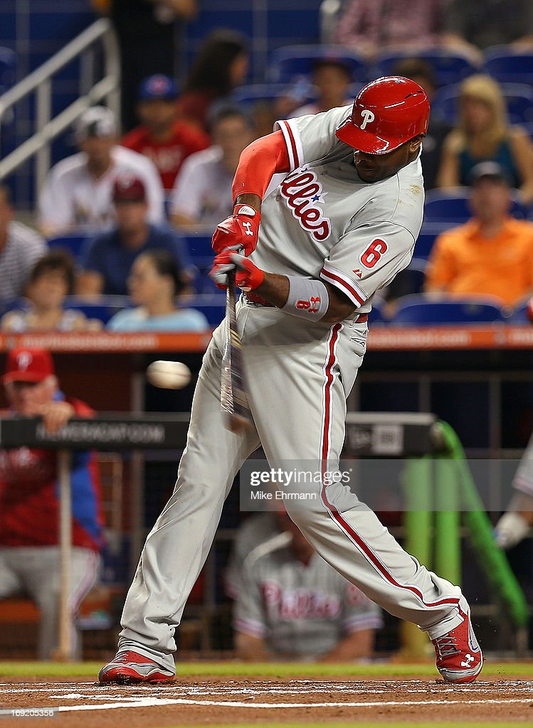 <a gi-track='captionPersonalityLinkClicked' href=/galleries/search?phrase=Ryan+Howard&family=editorial&specificpeople=551402 ng-click='$event.stopPropagation()'>Ryan Howard</a> #6 of the Philadelphia Phillies hits during a game against the Miami Marlins at Marlins Park on May 21, 2013 in Miami, Florida.